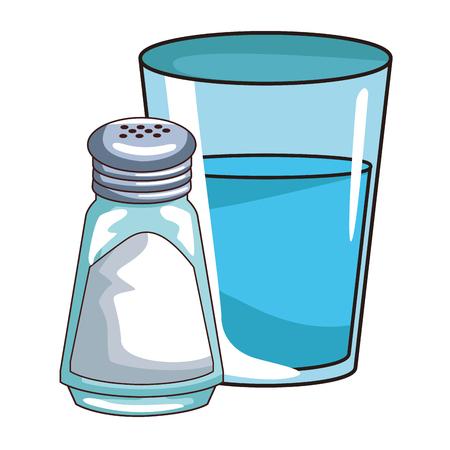 Water glass and salt shaker vector illustration graphic design Illustration