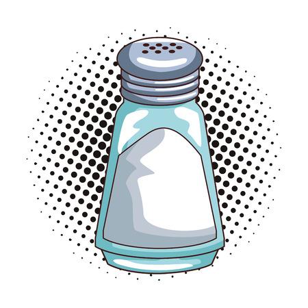 Salt shaker isolated pop art vector illustration graphic design