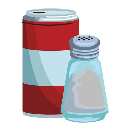 Soda can and salt shaker vector illustration graphic design