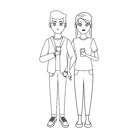 Couple texting with smartphones in black and white vector illustration graphic design