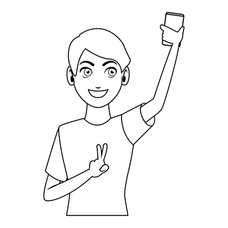 Man taking a selfie with smartphone in black and white vector illustration graphic design