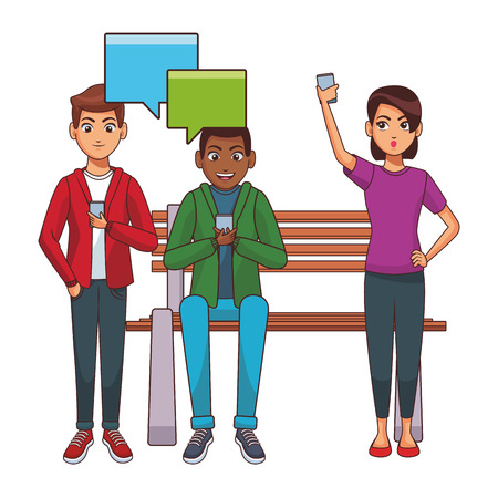 Friends using smartphones on bench vector illustration graphic design