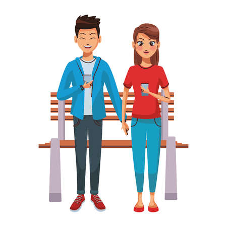Couple using smartphones on bench vector illustration graphic design