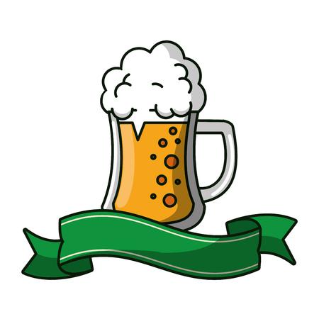 Beer cup emblem blank ribbon banner vector illustration graphic design