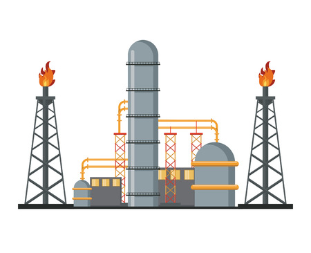 Petroleum machinery factory with pumps and containers vector illustration graphic design