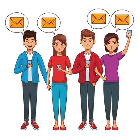 Friends using smartphones for mailing vector illustration graphic design
