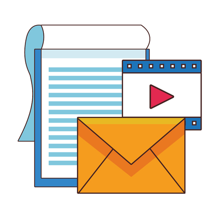 Office elements clipboard ann envelope with video symbols vector illustration graphic design