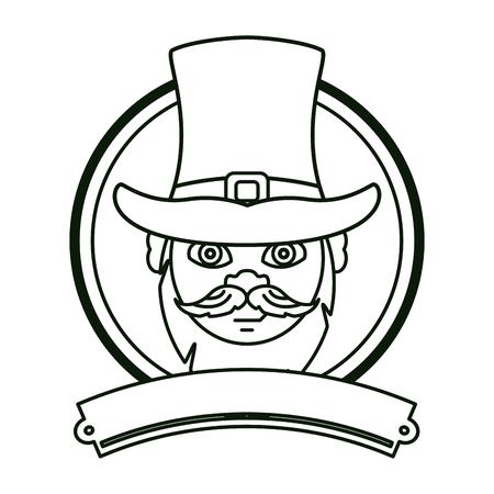 Irish elf face with hat round emblem ribbon banner vector illustration graphic design Illustration