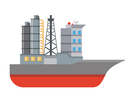 Freight ship isolated vector illustration graphic design Vettoriali