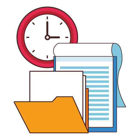 Office elements clipboard and folder with clock vector illustration graphic design