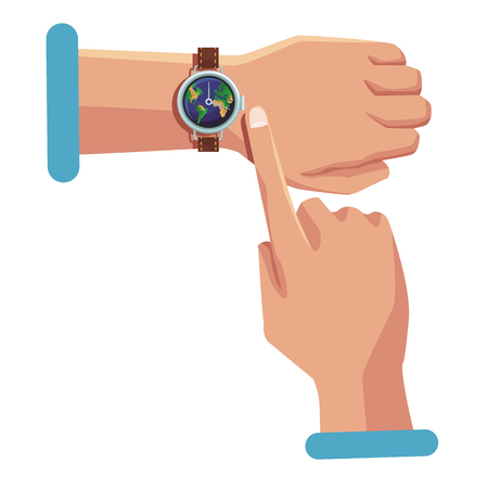 Finger pointing world wristwatch vector illustration graphic design