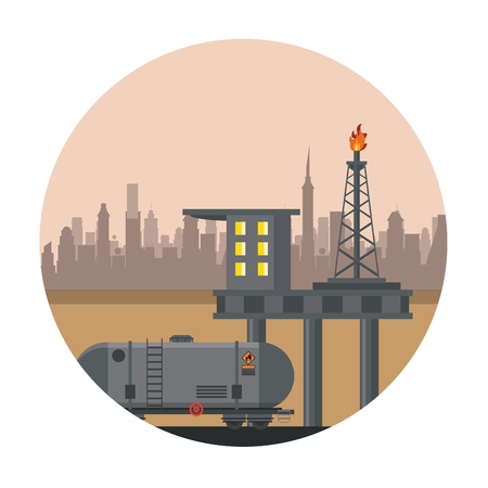 Petroleum refinery plataform with wheel containers vector illustration graphic design