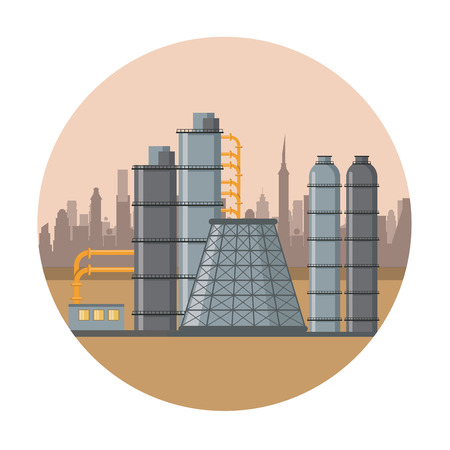 Petroleum machinery factory with pumps and containers round icon vector illustration graphic design