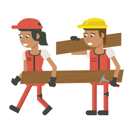 Construction workers with tools and elements geometric cartoons vector illustration graphic design