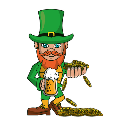 d5053e2f246 Irish elf with beer and coins cartoon vector illustration graphic design