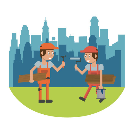 Workers at construction zone over cityscape geometrics cartoons vector illustration graphic design