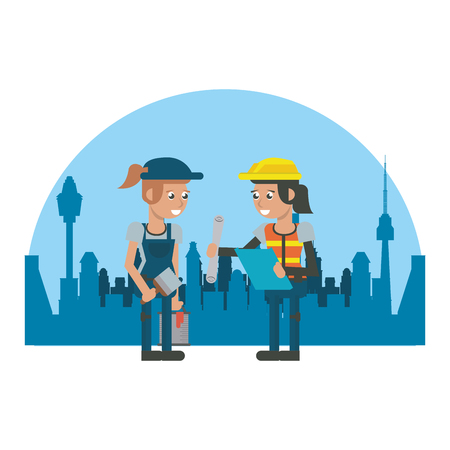 Workers at construction zone over cityscape geometrics cartoons vector illustration graphic design Ilustração