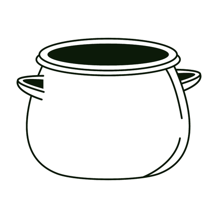 Empty pot isolated in black and white vector illustration graphic design