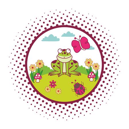 frog cute cartoon on landscape round icon vector illustration graphic design Illustration