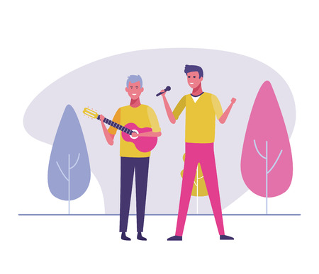 male singer and musician playing guitar vector illustration graphic design