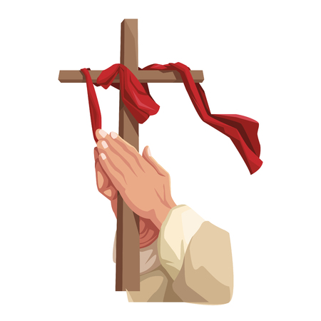 Christian hands holding cross elements and symbols vector illustration graphic design