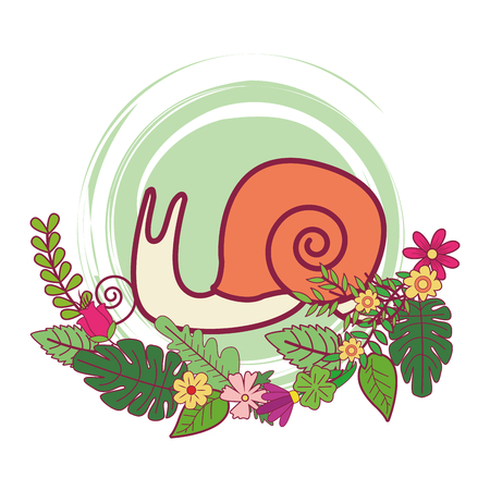 slug cute cartoon on flowers and leaves vector illustration graphic design Stock Vector - 109402289