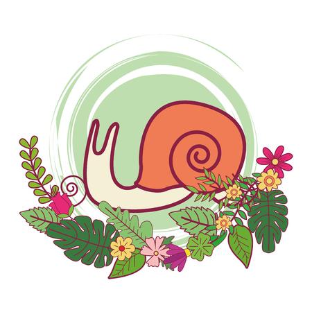 Slug cute cartoon sur fleurs et feuilles vector illustration graphic design
