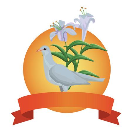 White dove bird round emblem ribbon banner vector illustration graphic design  イラスト・ベクター素材