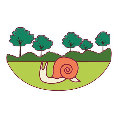 slug cute cartoon at nature landscape Illustration