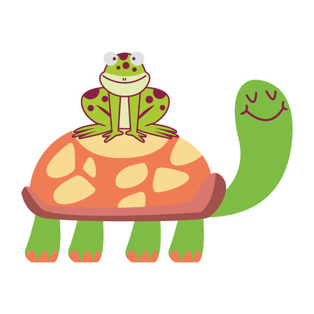 Frog on turtle cute cartoons vector illustration graphic design vector illustration graphic design