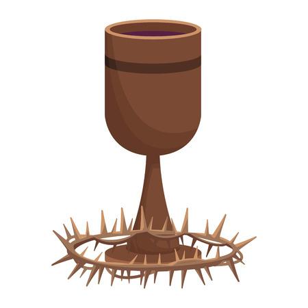 Christlicher Kelch und Dornenkronenelemente und Symbolvektorillustrationsgrafikdesign
