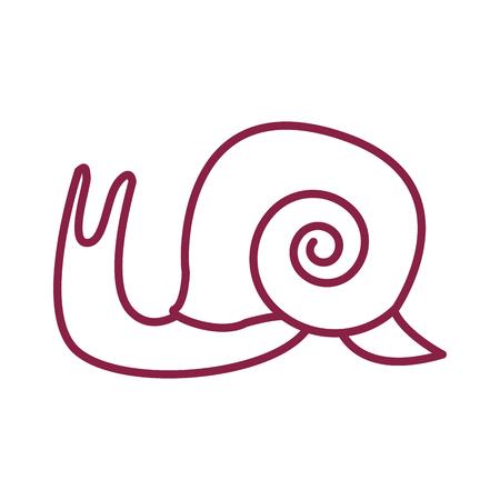 slug cute cartoon vector illustration graphic design red lines