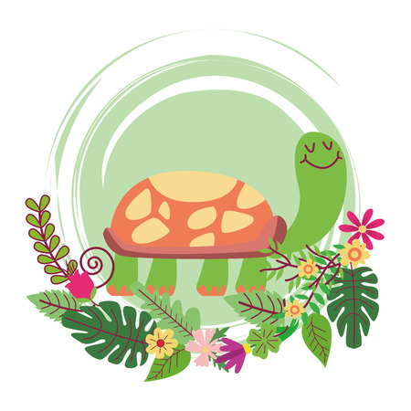 turtle cute cartoon on flowers and leaves wreath vector illustration graphic design vector illustration graphic design