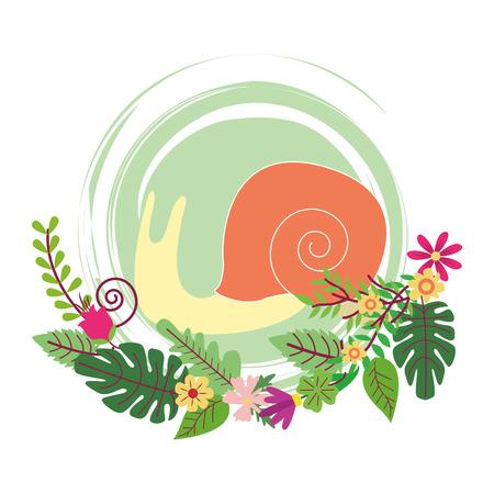 Limace dessin animé mignon sur fleurs et feuilles guirlande vector illustration graphisme illustration vectorielle design graphique Vecteurs