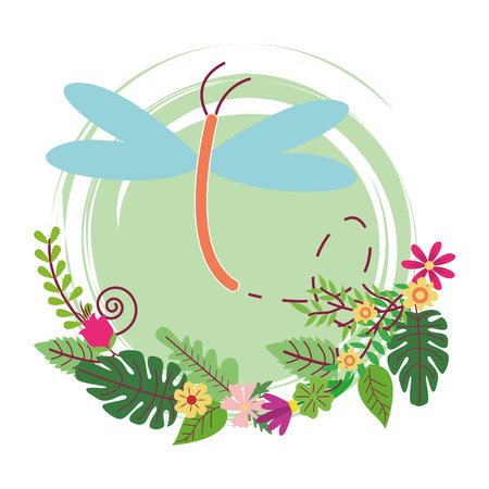 dragonfly cute cartoon on flowers and leaves wreath vector illustration graphic design vector illustration graphic design