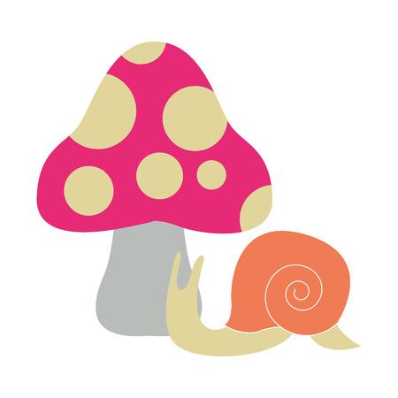 Slug and fungus cartoons vector illustration graphic design vector illustration graphic design Stock Vector - 109403264