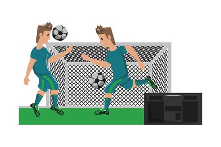 Soccer players with ball on goal sport cartoons vector illustration graphic design