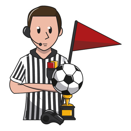 Soccer referee and trophy cup with flag game cartoons vector illustration graphic design
