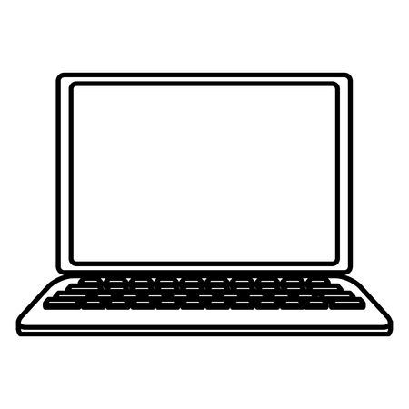 Laptop computer isolated  in black and white vector illustration graphic design Vettoriali
