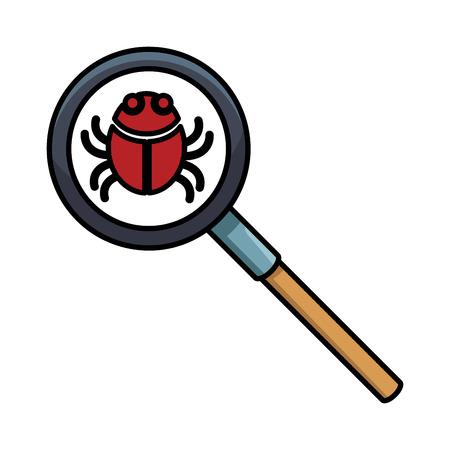 Bug on magnifying glass vector illustration graphic design vector illustration graphic design
