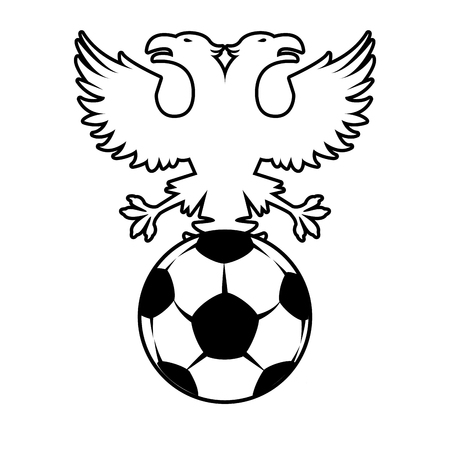 Russia eagles soccer emblem in black and white vector illustration graphic design 矢量图像