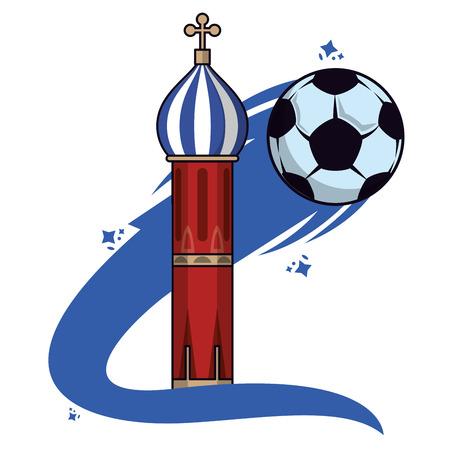 Russia soccer kremlin building vector illustration graphic design