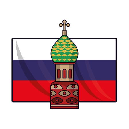 Russia flag with kremlin vector illustration graphic design