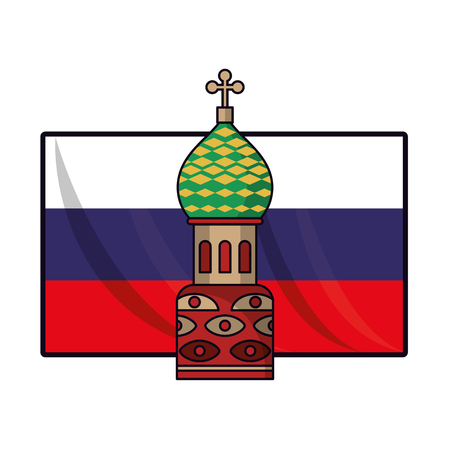 Russia flag with kremlin vector illustration graphic design