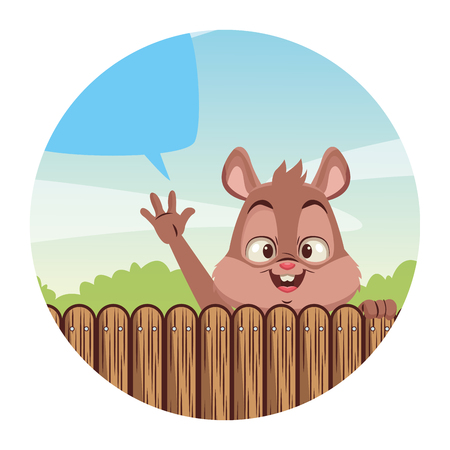 Squirrel cute cartoon behind wooden fence with blank bubble speech vector illustration graphic design