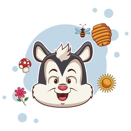 Squirrel cute cartoon with nature symbols around vector illustration graphic design