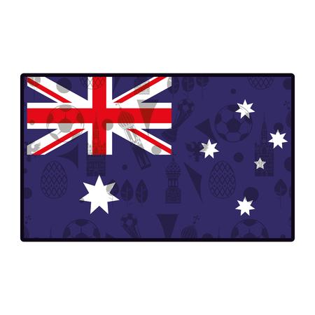 Australia flag emblem with soccer  symbols vector illustration graphic design