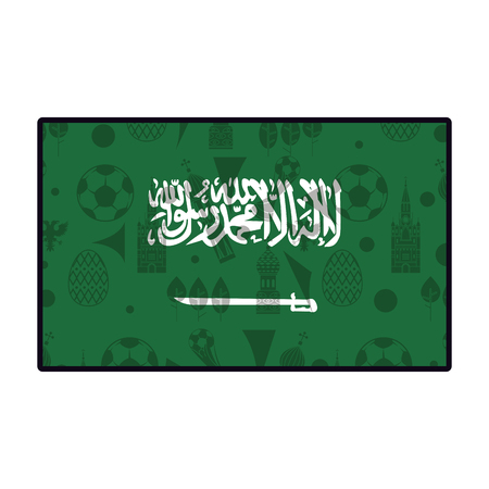 Saudi arabia flag emblem with soccer symbols vector illustration graphic design Vettoriali