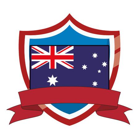 Australia flag emblem on badge with blank ribbon banner vector illustration graphic design