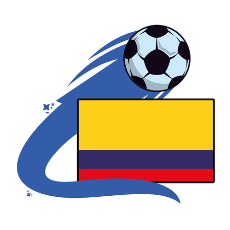 Colombia flag emblem with soccer ball vector illustration graphic design Illustration